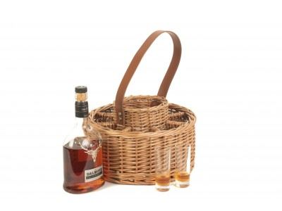 Vanilla Leisure Round Wicker Whisky Celebration Carrier with Cartridge Glasses