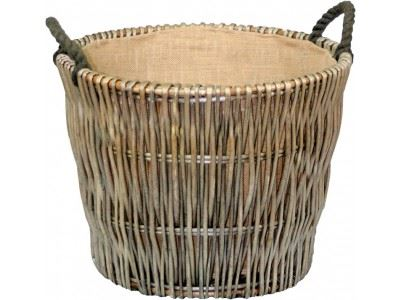 Vanilla Leisure Round Grey Log Basket