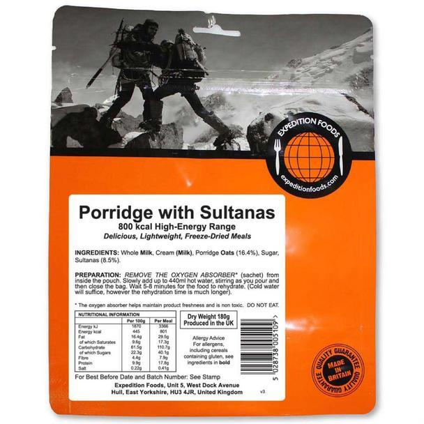 Expedition Foods Porridge with Sultanas (800kcal) - High Energy Serving