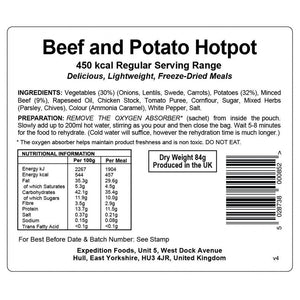 Expedition Foods Beef and Potato Hotpot (450kcal) - Regular Serving-Tamworth Camping