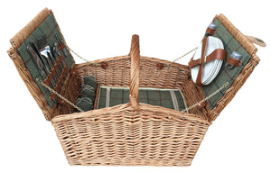 4 Person Green Tweed Double Lid Hamper-Tamworth Camping
