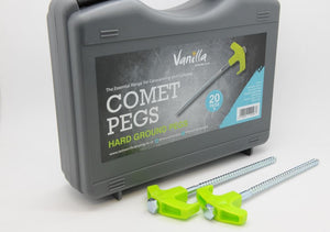 Vanilla Leisure Comet Drill Top Screw Pegs 20 Pack with Free Case for Hard Ground-Tamworth Camping