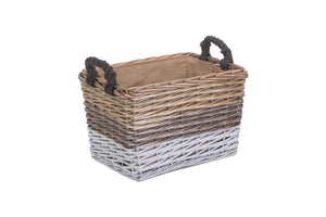 Vanilla Leisure Large Rectangular Triple Tone Chunky Storage Basket With Lining-Tamworth Camping