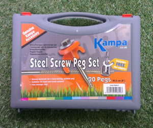 Kampa Steel Screw Peg 20s with 13 mm screw peg drill adaptor-Tamworth Camping