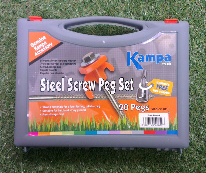 Kampa Steel Screw Peg 20s with 13 mm screw peg drill adaptor