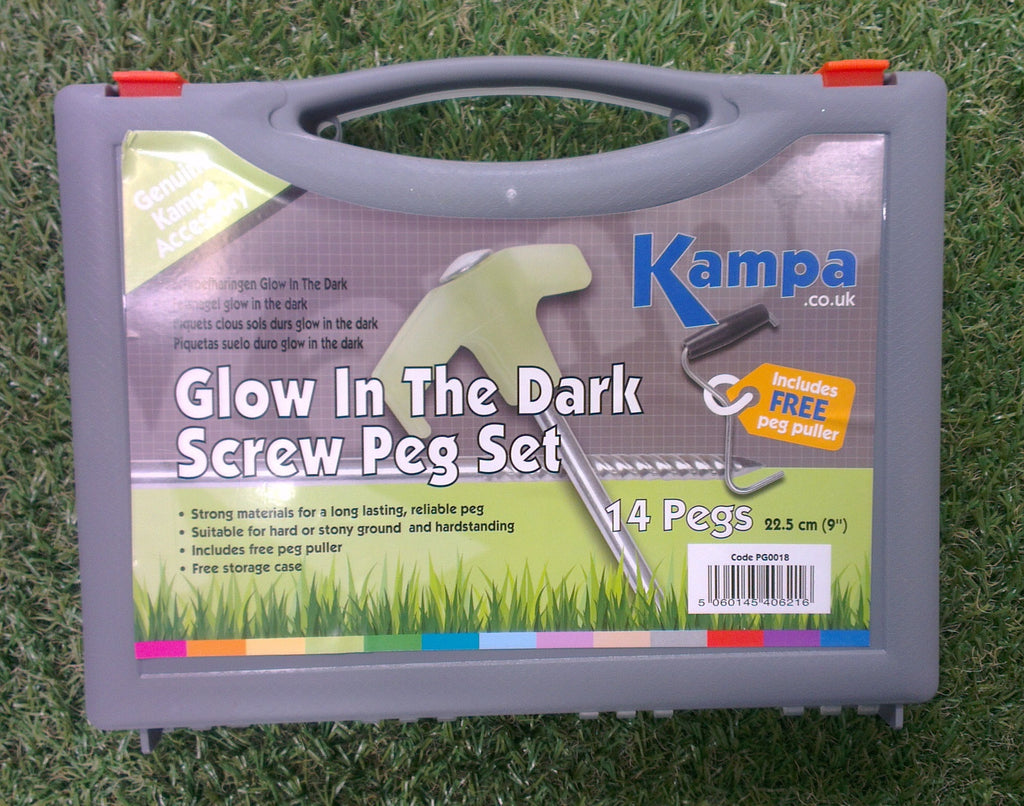 Kampa Glow In The Dark Steel Screw Peg 1 + tent peg puller-Tamworth Camping