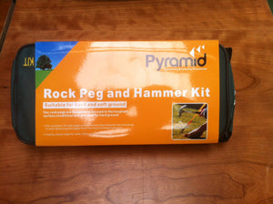 Pyramid Rock Peg and Hammer Kit 15 Hard Ground Pegs With Free Hammer-Tamworth Camping