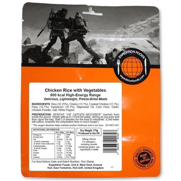 Expedition Foods Chicken Rice with Vegetables (800kcal) - High Energy Serving