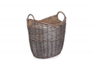 Vanilla Leisure Medium Scoop Neck Antique Wash Hessian Lined Basket-Tamworth Camping