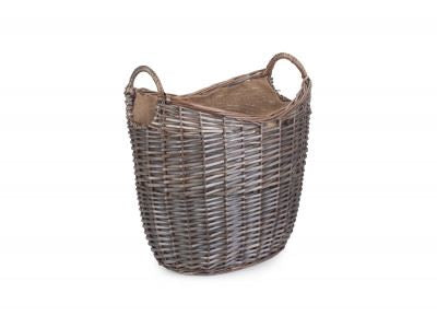 Vanilla Leisure Medium Scoop Neck Antique Wash Hessian Lined Basket