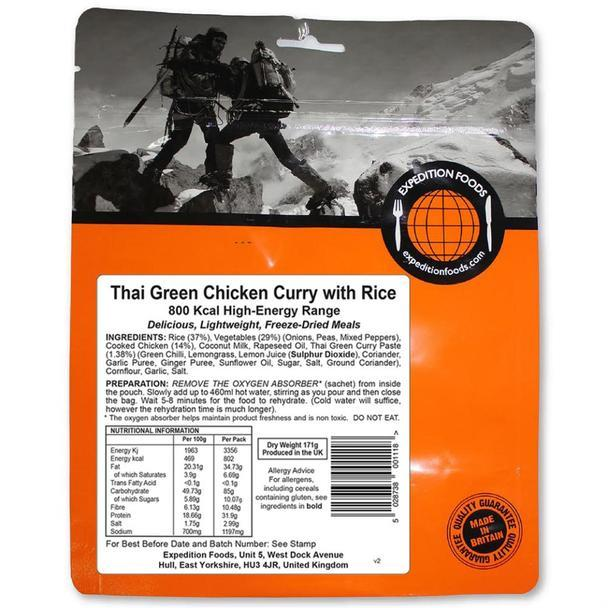 Expedition Foods Thai Green Chicken Curry with Rice (800kcal) - High Energy Serving