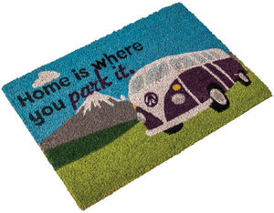 Heavy duty coir Home is where you park it (camper van) mat-Tamworth Camping