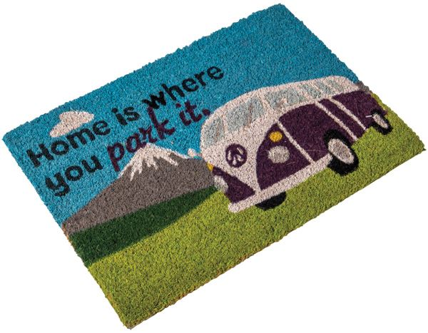 Heavy duty coir Home is where you park it (camper van) mat