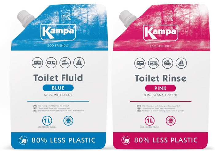 Kampa Eco Friendly 1L Blue Toilet Fluid and 1L Pink Toilet Flush Twin Pack