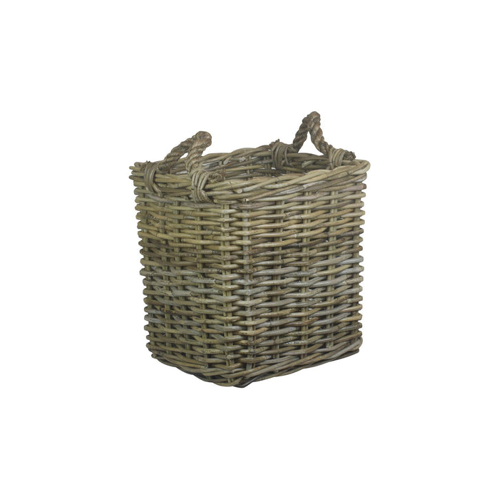 Vanilla Leisure Small Square Grey Rattan Log Basket
