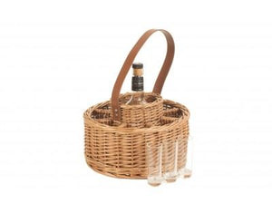 Vanilla Leisure Round Wicker Whisky Celebration Carrier with Cartridge Glasses-Tamworth Camping