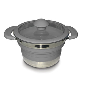 Kampa Folding Saucepan 1.0 Litre Grey-Tamworth Camping