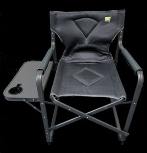 Via Mondo 3D Padded Mesh Directors Chair With Side Table - Charcoal-Tamworth Camping