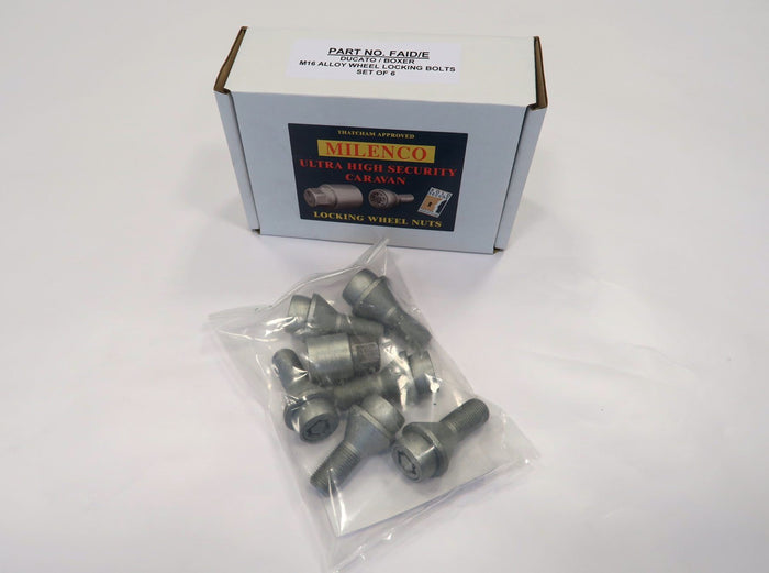 "Milenco Motorhome Locking Wheel Nuts (Set of 4) specifically made for 16"" Fiat Ducato, Peugeot Boxer and Citroen Relay."