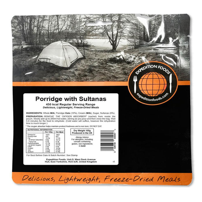 Expedition Foods Porridge with Sultanas (450kcal) - Regular Serving