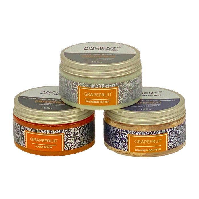 Ancient Wisdom Pamper Trio - Grapefruit -  Body Butter, Sugar Scrub, Souffle