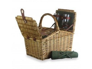 Vanilla Leisure 2 Person Green Tweed Double Lidded Hamper-Tamworth Camping