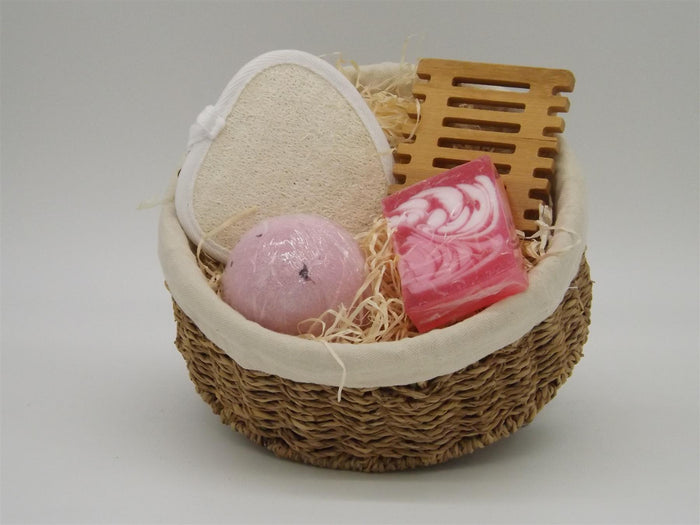 Indulgent Bath Gift Set in Fragrant Rose with Hand Woven, Lined Seagrass Basket