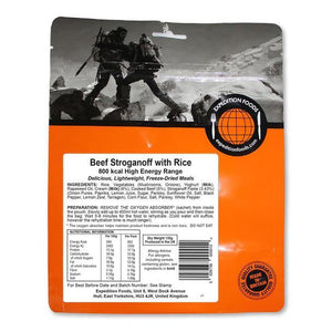 Expedition Foods Beef Stroganoff with Rice (800kcal) - High Energy Serving-Tamworth Camping