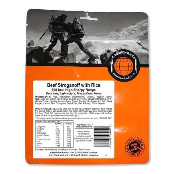 Expedition Foods Beef Stroganoff with Rice (800kcal) - High Energy Serving