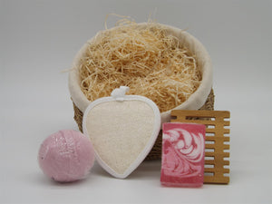 Indulgent Bath Gift Set in Fragrant Rose with Hand Woven, Lined Seagrass Basket-Tamworth Camping