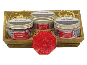 Ancient Wisdom Bathing Pamper Hamper - Strawberry Shower Gifts with Loofah Soap-Tamworth Camping
