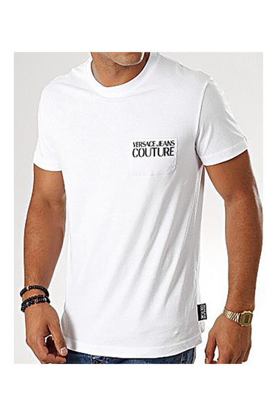 VERSACE JEANS COUTURE WHITE T-SHIRT POCKET LOGO