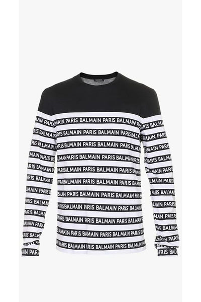 BALMAIN PARIS- T-SHIRT STRIPE WITH LOGO BLACK / WHITE