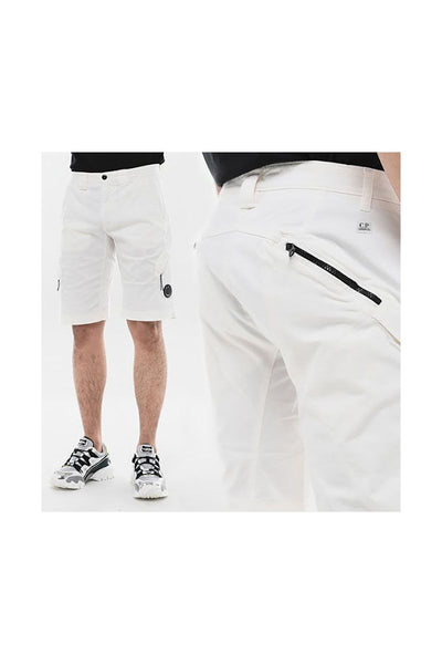 CP COMPANY - BERMUDA RASO STRETCH SHORTS - WHITE