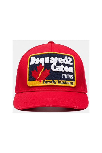 DSQUARED2 EMBROIDED BASBALL CAP - RED-One Size