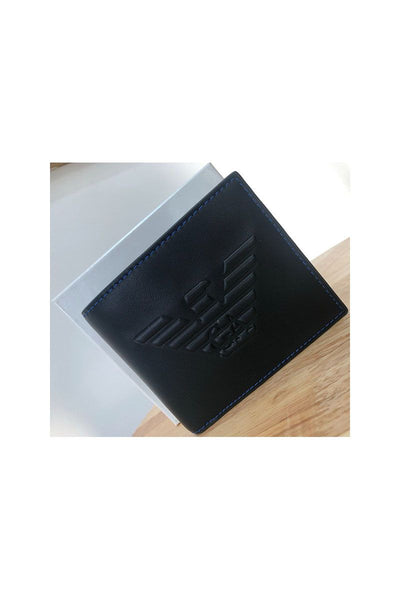 Armani Wallet in Black with Blue Stitching