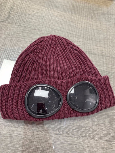 CP Company Burgundy Knit Goggle Beanie