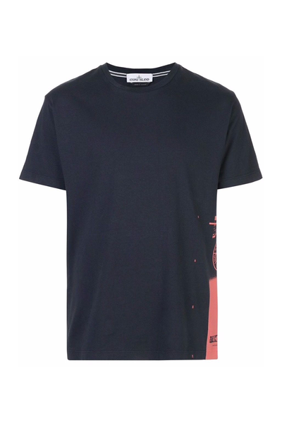 STONE ISLAND NAVY T SHIRT WITH PRINT