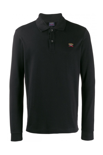PAUL & SHARK LONGSLEEVE POLO SHIRT-BLACK