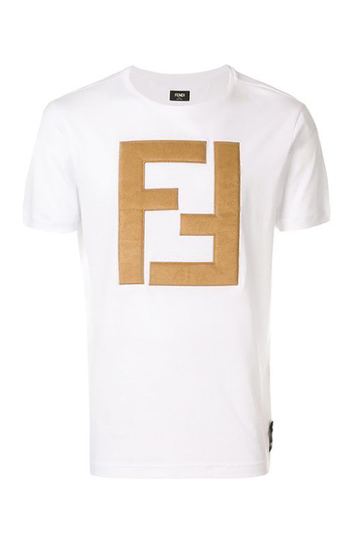 FENDI T-SHIRT LOGO WHITE/BROWN
