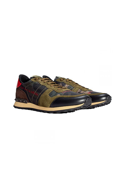 VALENTINO ROCKRUNNER CAMO TRAINERS ARMY GREEN