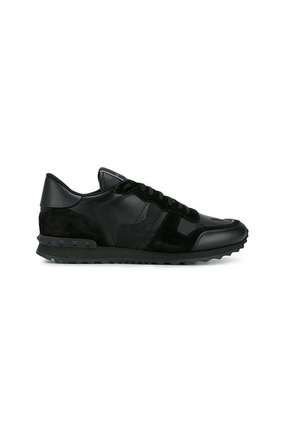 VALENTINO ROCKRUNNER CAMOUFLAGE TRAINER IN TRIPLE BLACK