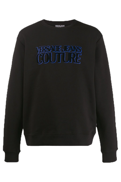 VERSACE JEANS COUTURE SWEATER FABRIC LOGO BLACK