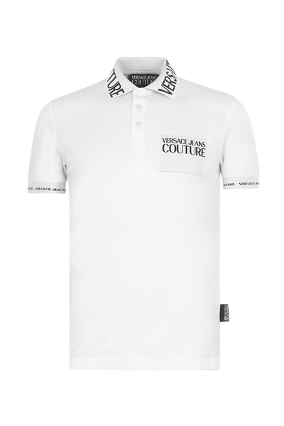 VERSACE JEANS COUTURE POLO SHIRT COLLAR PRINTED LOGO-WHITE