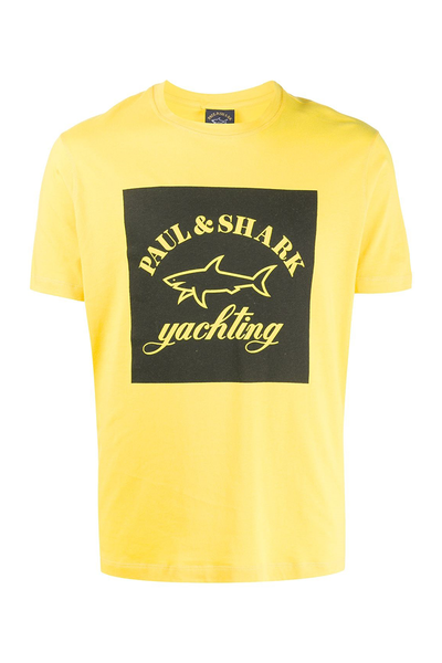PAUL & SHARK T-SHIRT BLACK LOGO-YELLOW