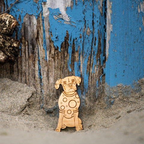 Boxer Dog Wooden Pin Jewellery