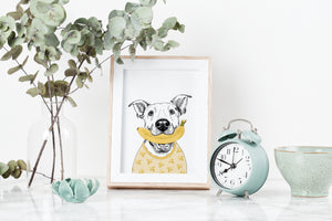 Banana Loving Dog Art Print