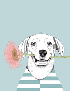 Flower Loving Dog Art Print