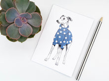 Load image into Gallery viewer, Blue Spotty Whippet Notebook
