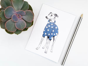 Blue Spotty Whippet Notebook